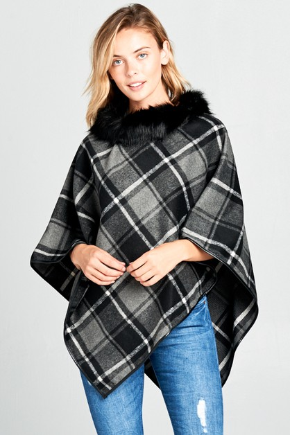 CHECKERED FUR NECK PONCHO - orangeshine.com