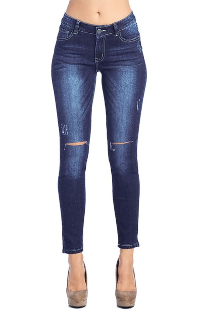Skinny Jeans Dark Blue Women Denim - orangeshine.com