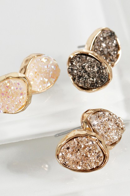 Dainty Oval Druzy Post Earrings - orangeshine.com