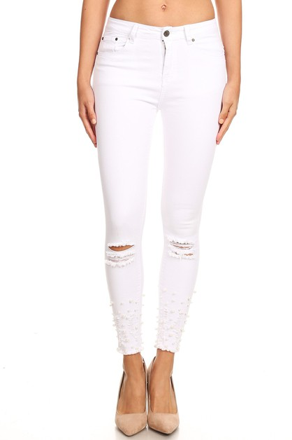 WHITE DISTRESSED PEARL EMB JEANS - orangeshine.com