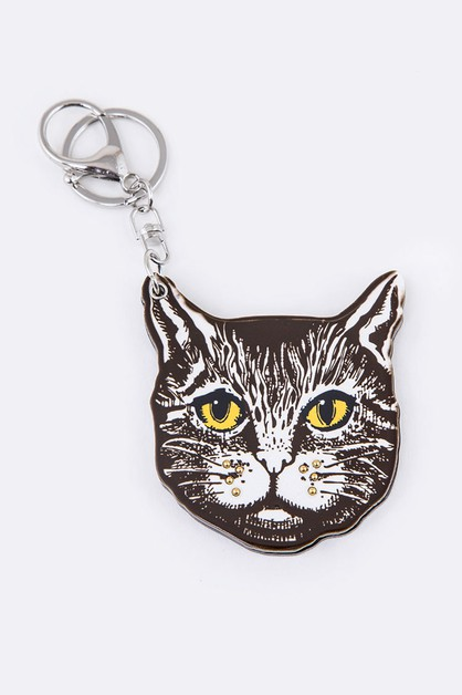 Cartoon Cat Mirror Key Chain - orangeshine.com