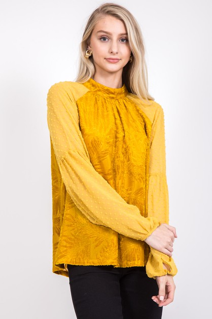 SHEER SLEEVE BURN-OUT VELVET TOP - orangeshine.com