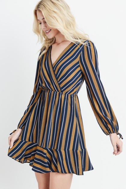 Striped Tie Sleeve Dress - orangeshine.com