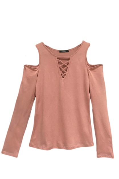 Cross Neck Cold Shoulder Long Sleeve - orangeshine.com
