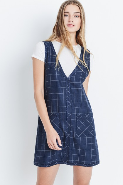 Boxy Windowpane Print Dress - orangeshine.com