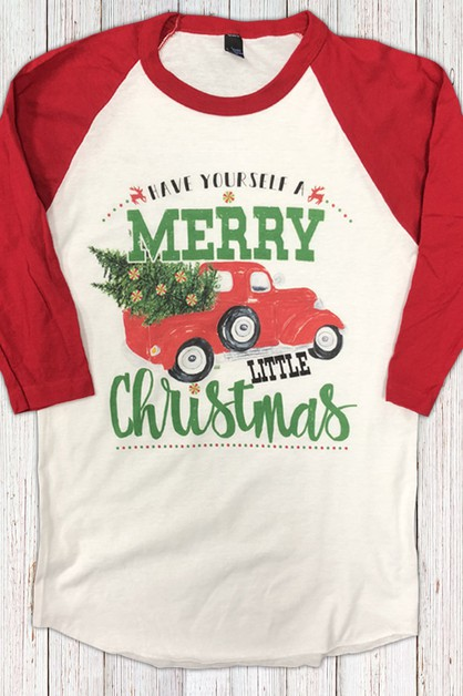 Merry Little Christmas Truck Raglan - orangeshine.com