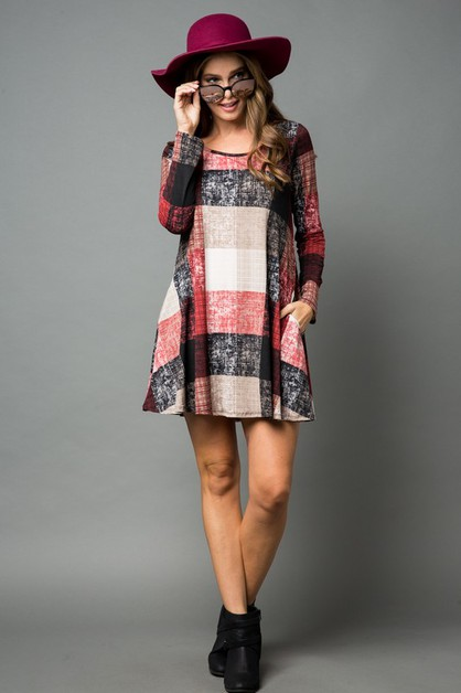 PLAID DRESS WITH SIDE POCKET DETAIL  - orangeshine.com