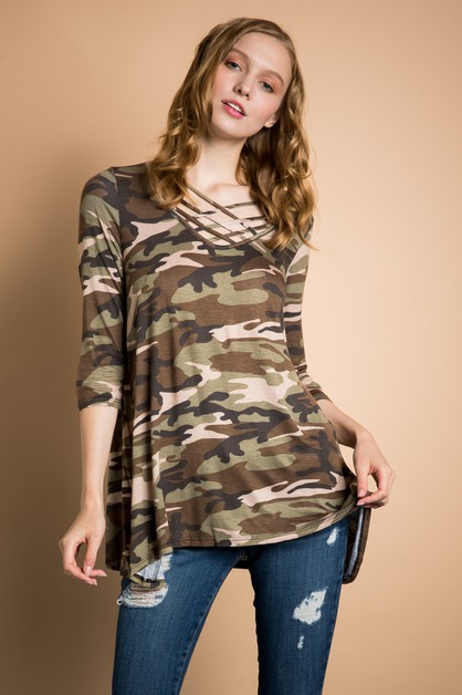 ARMY PRINT TOP  - orangeshine.com