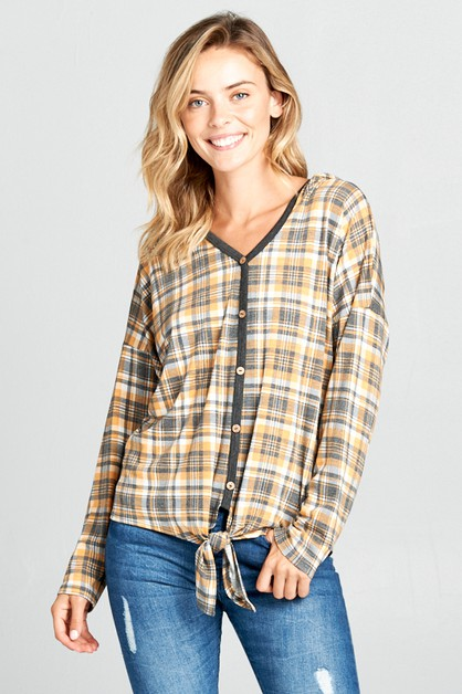 PLAID JERSEY FRONT BUTTON HOODIE TOP - orangeshine.com