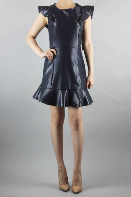 Studd Pointed Shoulder Leather Dress - orangeshine.com