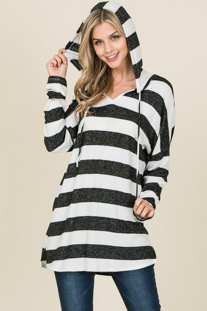 LONG SLEEVE V-NECK STRIPE HOODIE - orangeshine.com