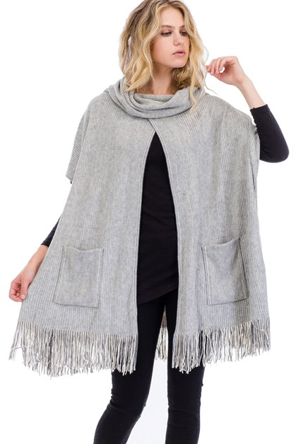 Fringe Poncho with Pockets - orangeshine.com