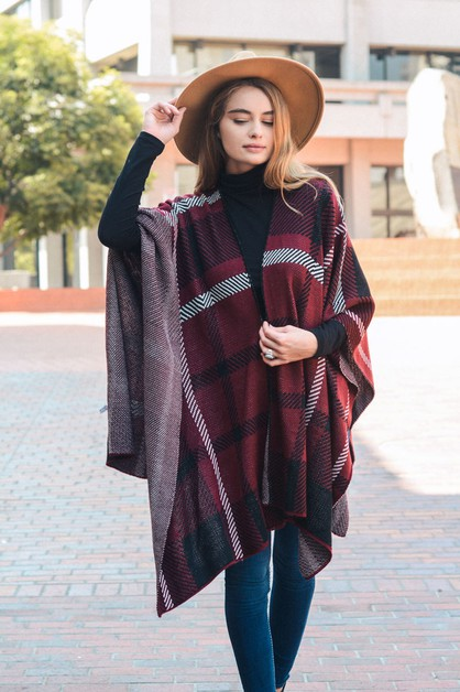 Soft Plaid Poncho - orangeshine.com
