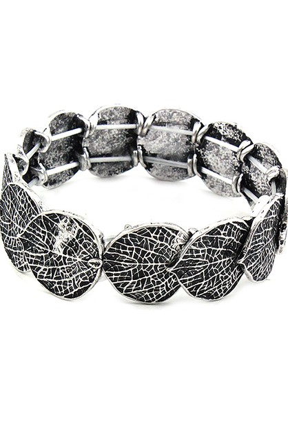 Mix Metal Leaf Stretch Bracelet - orangeshine.com