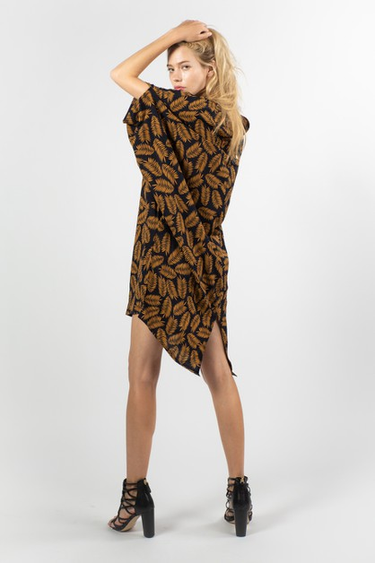 Feather Pattern Mini Dress - orangeshine.com