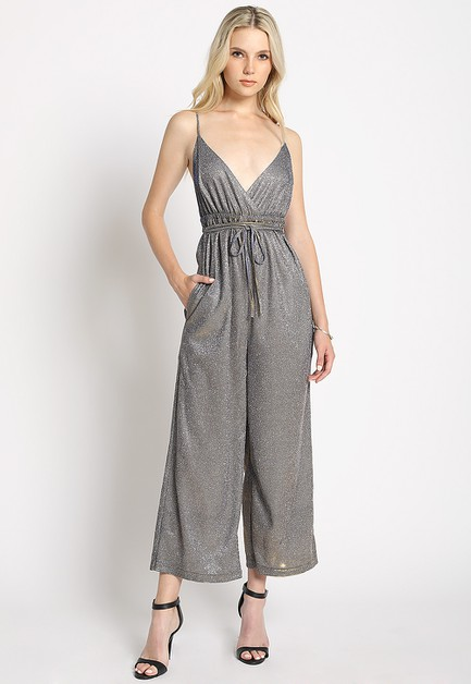 TWO TONE LUREX CAMI JUMPSUIT - orangeshine.com