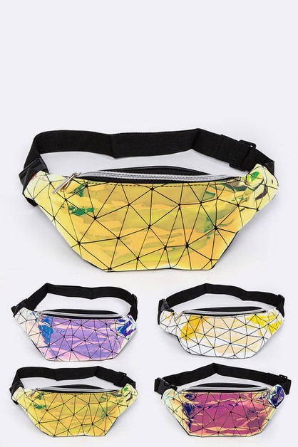 Geometric Metallic Fanny Pack - orangeshine.com