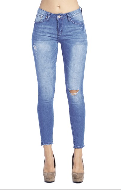 SKINNY JEANS BASIC KNEE RIPPED DENIM - orangeshine.com