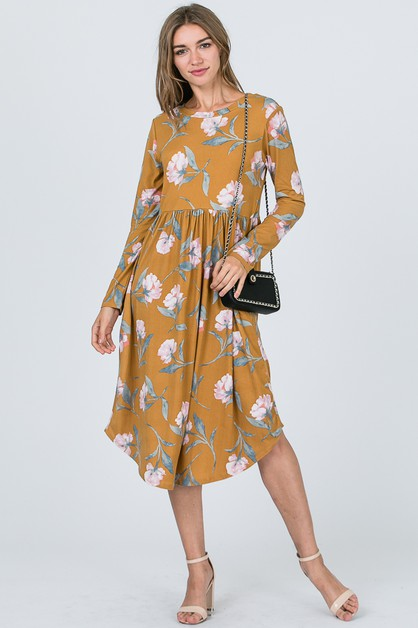 LONG SLEEVE POCKETS DRESS - orangeshine.com