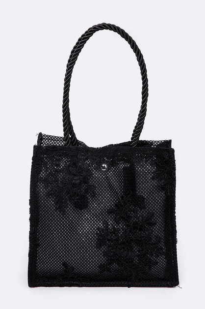 Lace Fabric Structured Mini Tote - orangeshine.com