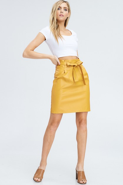 HIGH WAIST FAUX LEATHER SKIRT - orangeshine.com