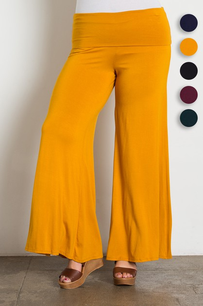 Plus Size Solid Palazzo Pants - orangeshine.com