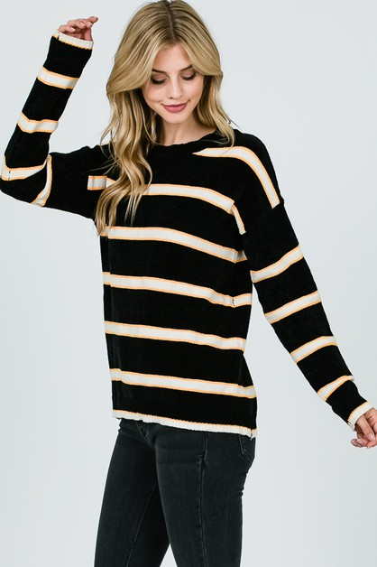 Round neck multi color stripe knitti - orangeshine.com