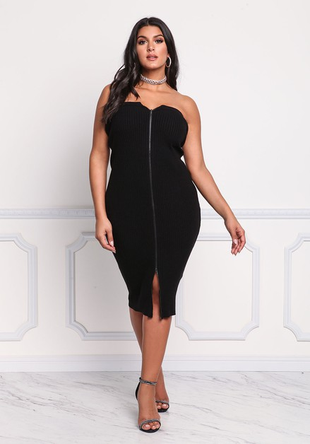 Off Shoulder Front Zipper Dress - orangeshine.com