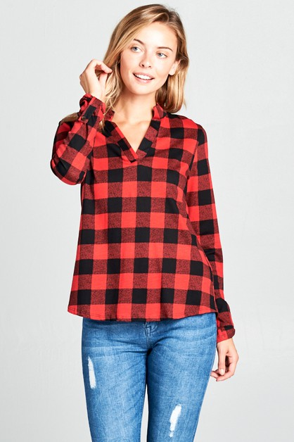 COTTON TENCEL PLAID SPLIT NECK TOP - orangeshine.com