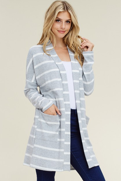 STRIPED LONG SLEEVE OPEN CARDIGAN - orangeshine.com
