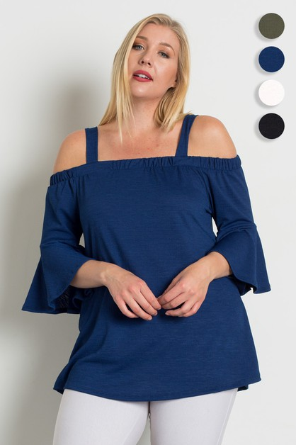 Plus Size Cold Shoulder Top - orangeshine.com
