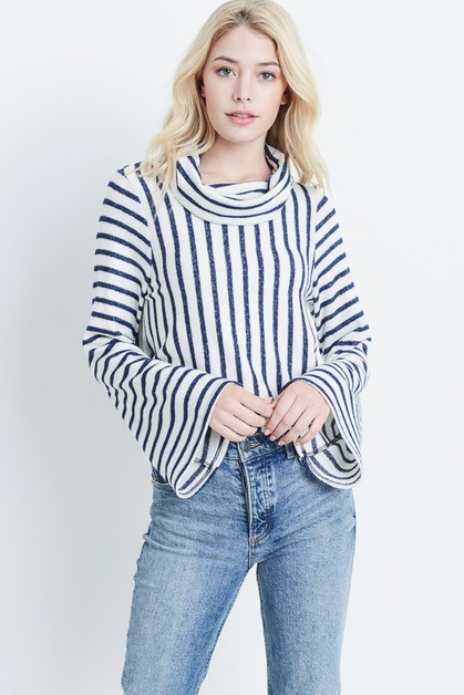 Striped Turtleneck Sweater - orangeshine.com