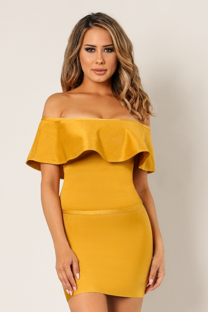 Ruffled Off Shoulder Bandage Top - orangeshine.com