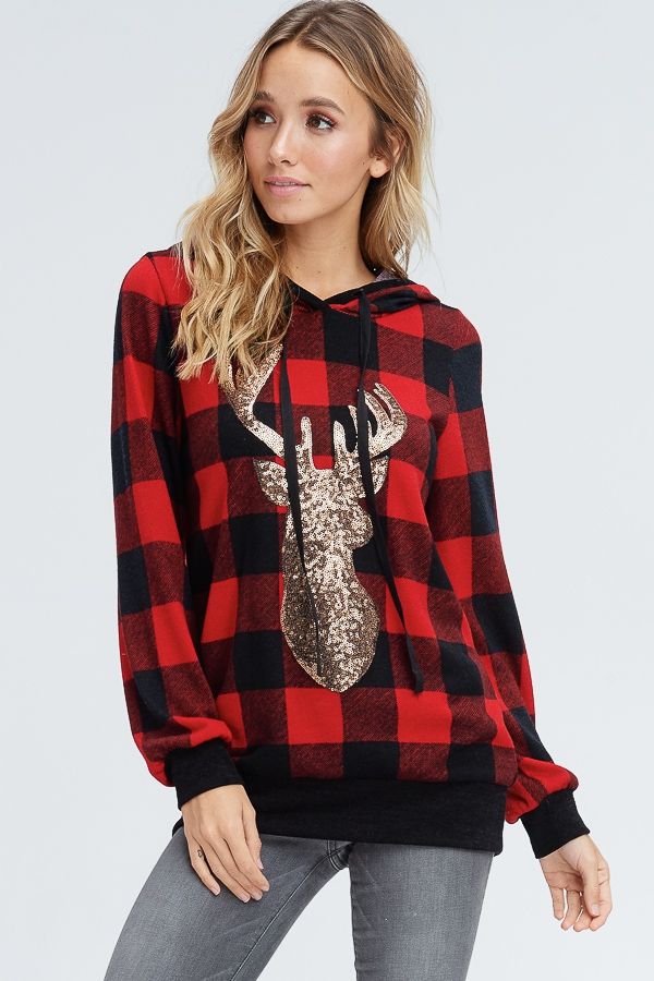Plaid Hoodie With Reindeer Outline  - orangeshine.com