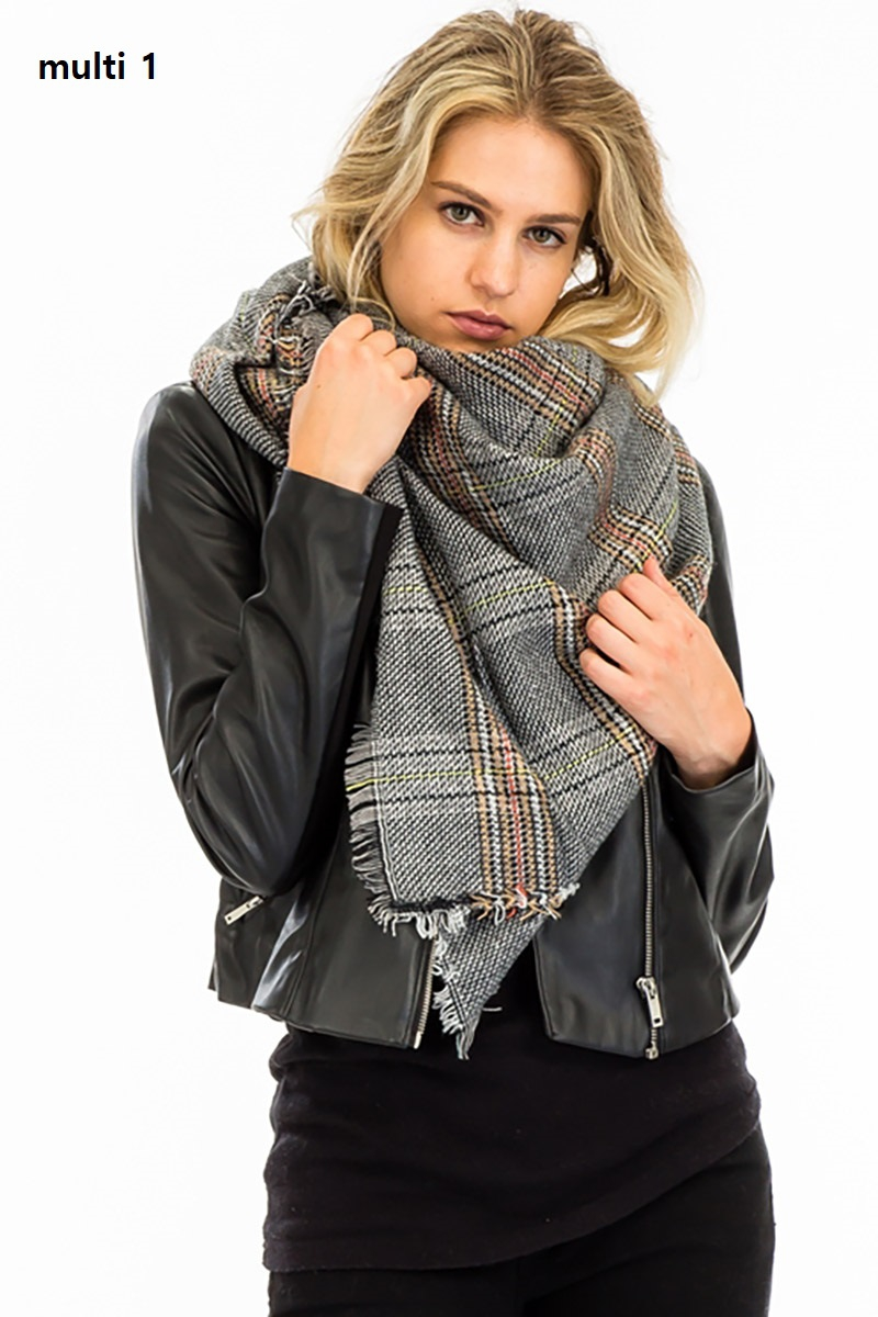 Plaid Oversized Square Blanket Scarf - orangeshine.com