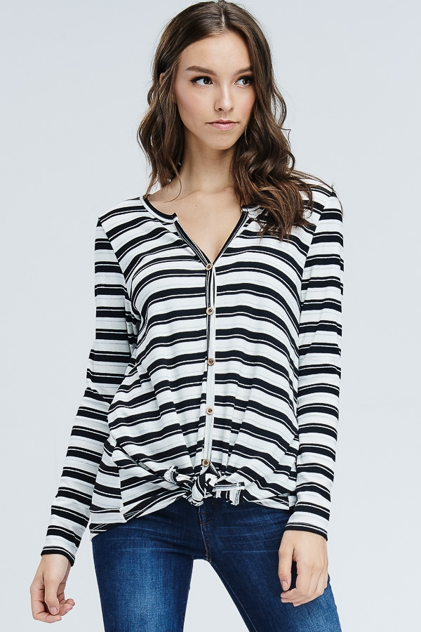 Front Self Tie Striped Knit Top - orangeshine.com