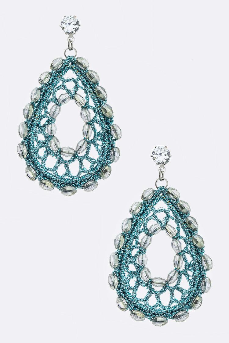 Crystal Metallic Lace Iconic Earring Orangeshine