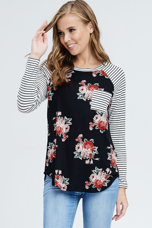 Raglan Sleeve Floral and Striped Top - orangeshine.com