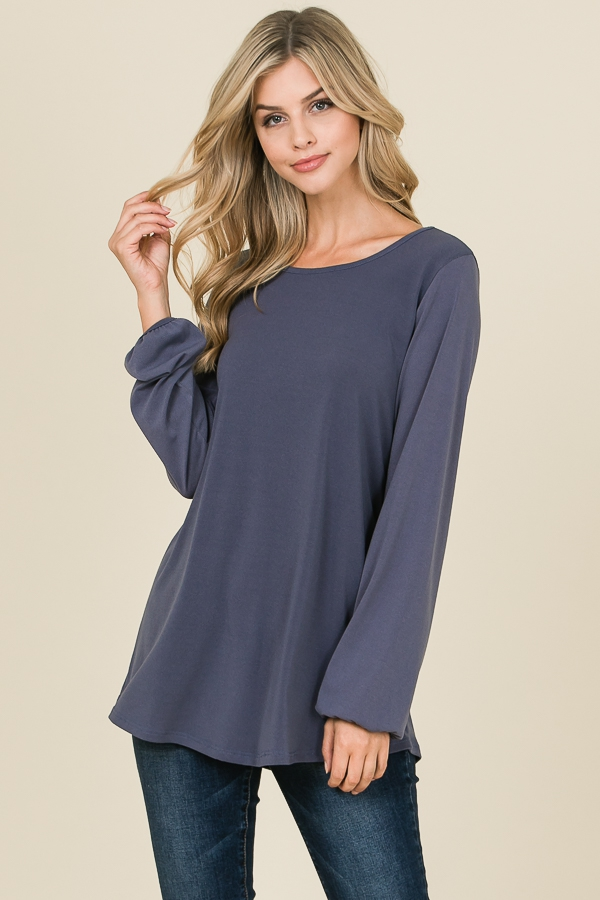 RELAXED FIT LONG SLEEVE SOLID TOP - orangeshine.com
