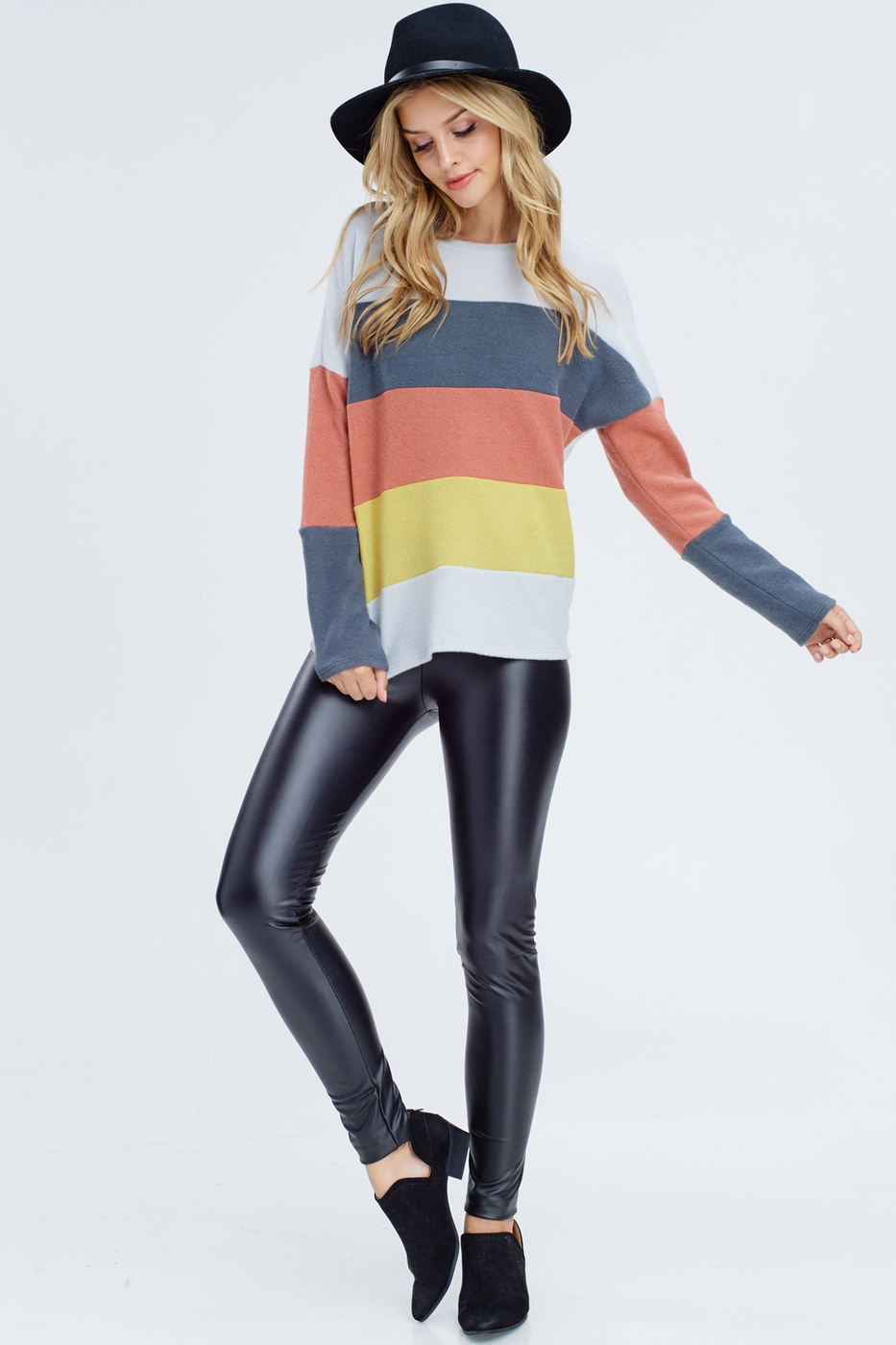 Color Block Knit Sweater - orangeshine.com