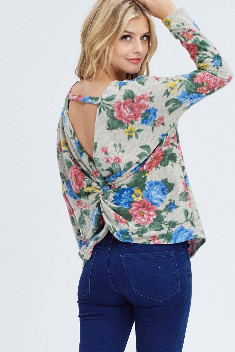 Open Back Twist Floral Sweater - orangeshine.com