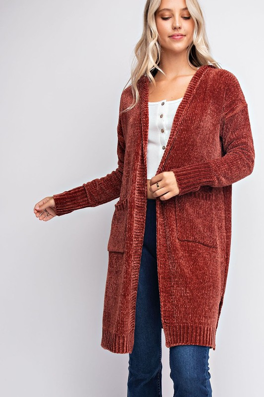 HOODED LONG SLEEVE SHRUG CARDIGAN - orangeshine.com