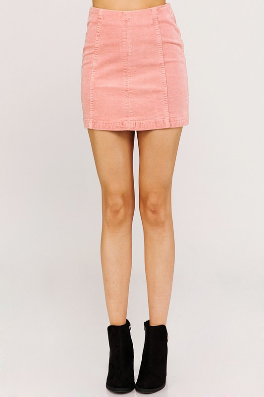 WASHED OUT HIGH WAIST CORDUROY SKIRT - orangeshine.com