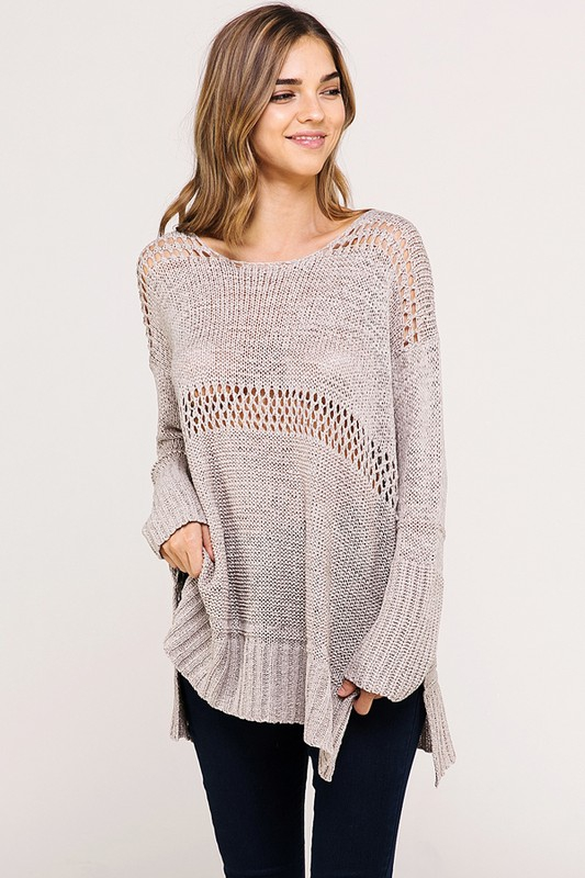 CASUAL OPEN KNIT SCOOP NECK SWEATER - orangeshine.com