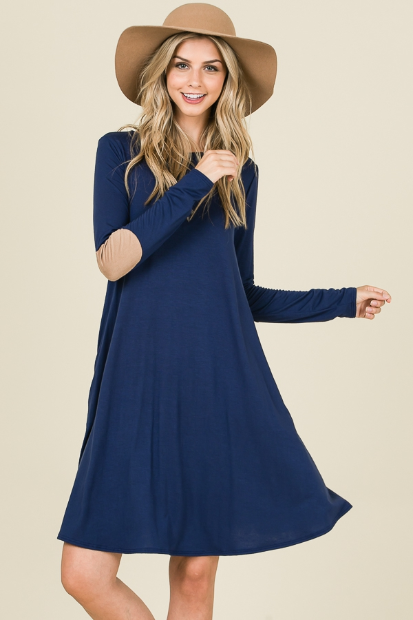 LOOSE FIT LONG SLEEVE SWING DRESS  - orangeshine.com