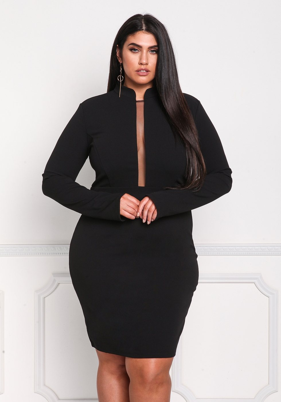 Plus Size Solid Mini Dress - orangeshine.com