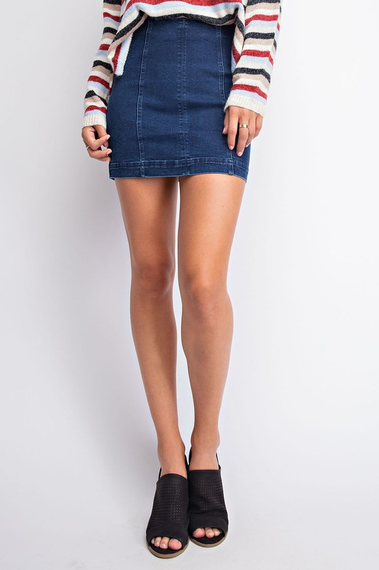 HIGH WAIST PANEL DENIM SKIRT - orangeshine.com
