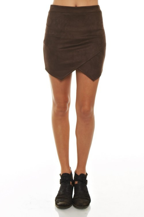 FAUX SUEDE OVERLAP MINI SKIRT - orangeshine.com