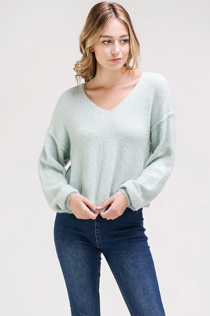 LOOSE FIT SCOOP NECK COZY SWEATER - orangeshine.com