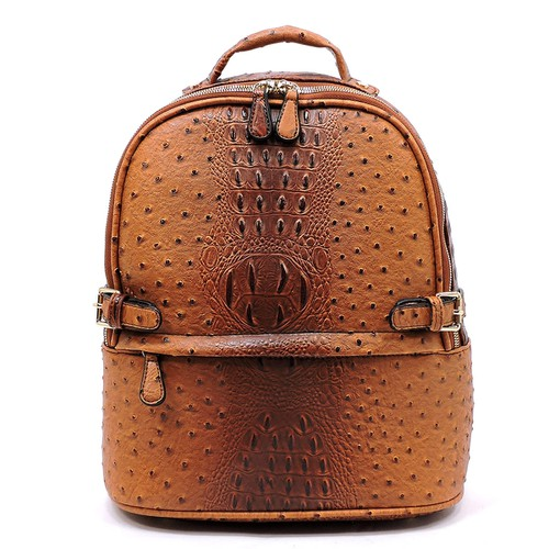Ostrich Croc Belted Backpack - orangeshine.com